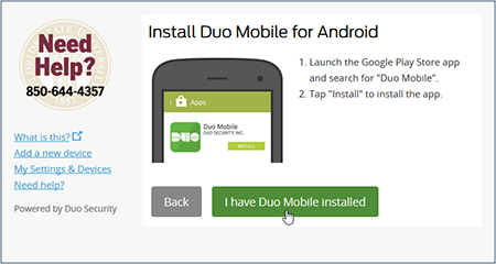 Click I have duo mobile installed