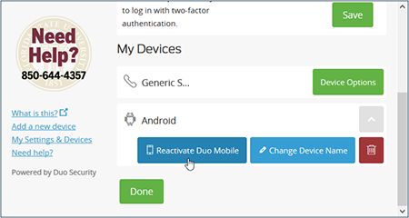 How do I reactivate Duo Mobile on a device? | ITS Knowledge Base