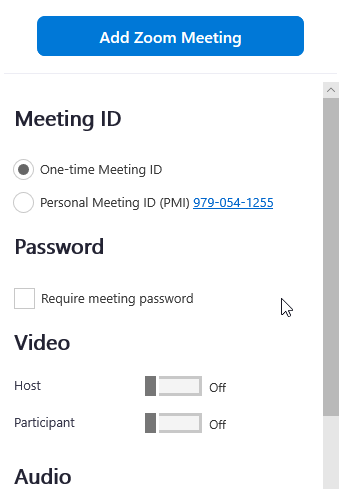Now that the add-in is connected to your Zoom account, configure your meeting settings before clickingAdd Zoom Meeting.