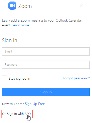A Zoom window will appear asking you to sign in. Use the link at the bottom toSign in with SSO