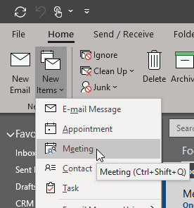 From the Outlook Home tab, create a new meeting invitation.
