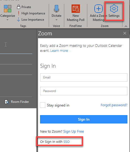 A Zoom window will appear asking you to sign in. Use the link at the bottom toSign in with SSO.