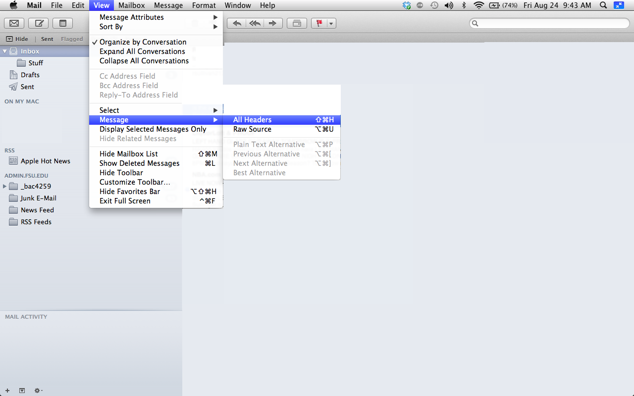 How do I get email headers from Mac Mail?   ITS Knowledge Base